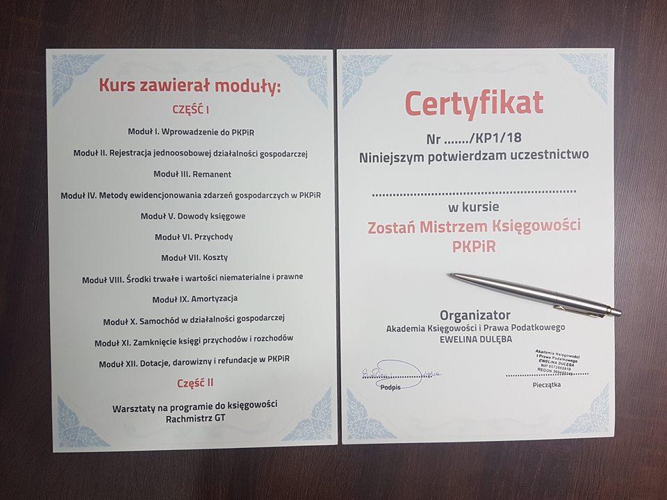 Certyfikat Kurs KPIR