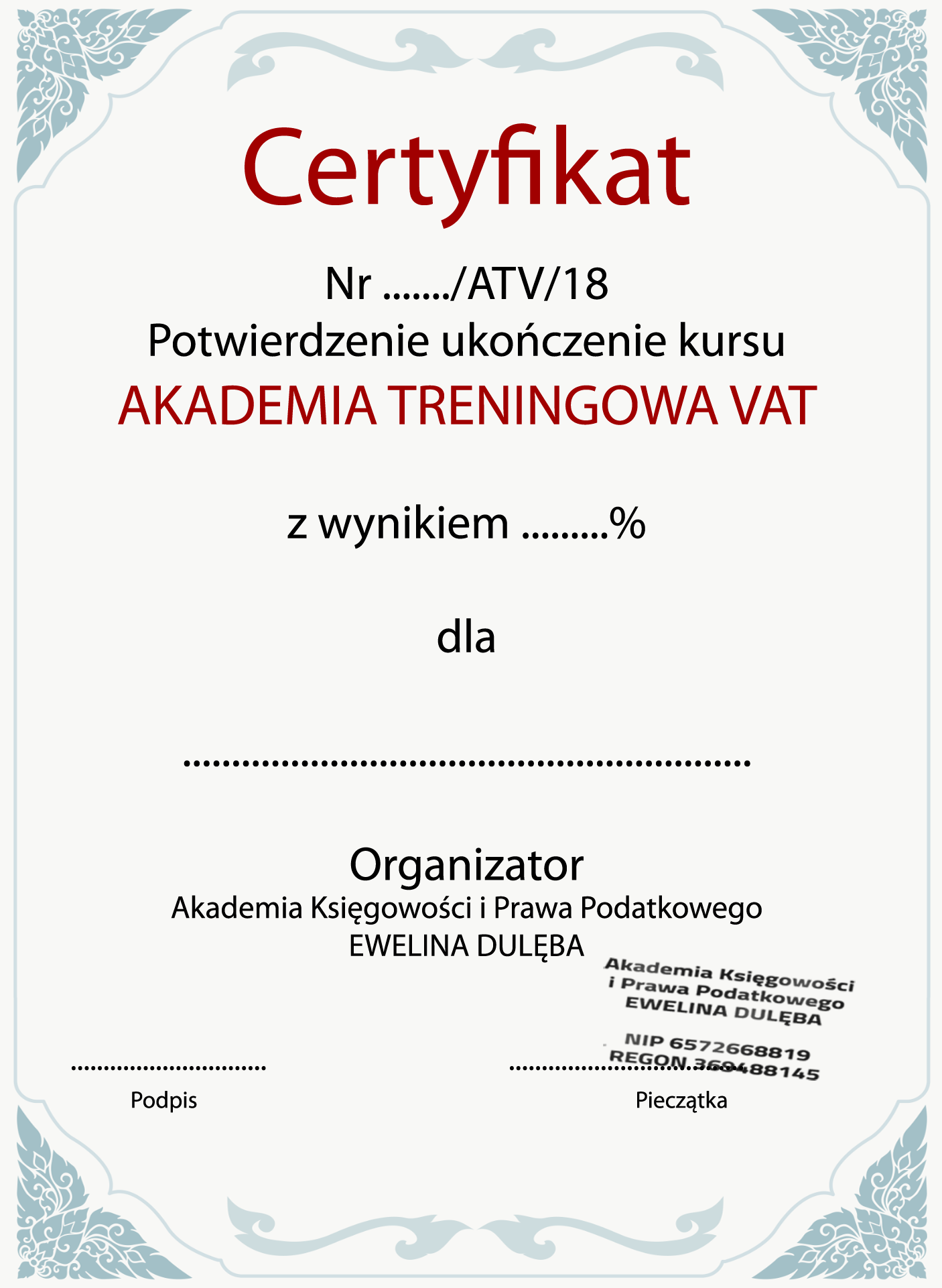 Szklenie z vat certyfikat